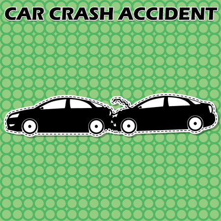 car speed: shape car icons, two cars back rear crashed at a speed of damage. In vector style.