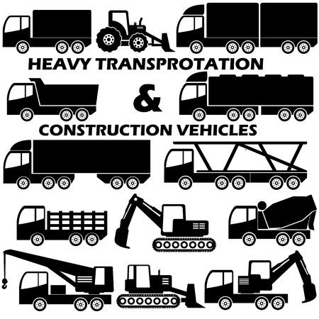 heavy construction: shape heavy transportation and construction vehicle icons Illustration