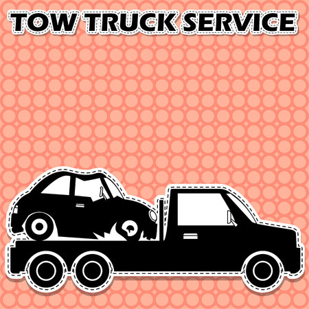 Towing truck shape vector icon. Service banner. In sticker style. Illustration