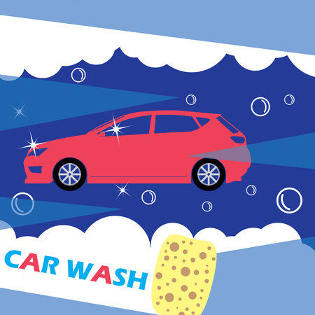 wipe: Red car needles on a dark blue background. Wipe clean with a sponge. A symbol of a car wash in the form of vector.