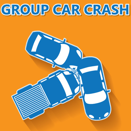 car crash: blue color group car crash on orange background In vector concept and sticker style Stock Illustratie