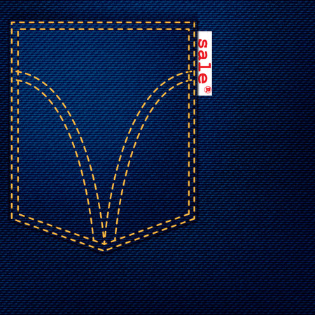 western clothing: Pocket jeans with a white ribbon holding out a red letter word SALE on it. In vector style.