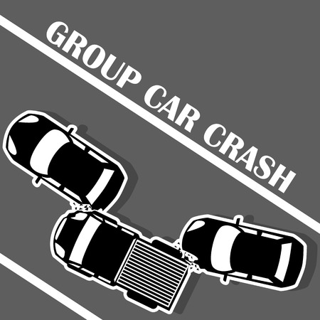 danger icon: Three cars collided on the road in the form of vector.