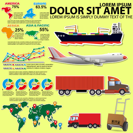 shipping by air: Info Graphic on transportation. By vehicles of various types Graph used in transport in vector style. Illustration