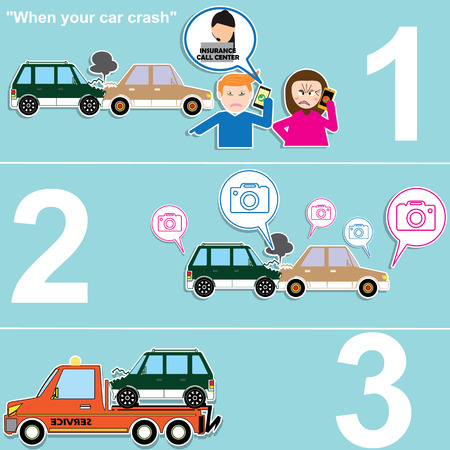 call for help: How to call for help when the car was hit by a car and dragged. In the form of cartoon vector style. Illustration