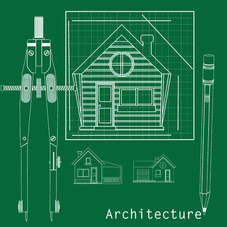 interior designer: The home by a white line on a green background between circle and a pencil in the form of vector.
