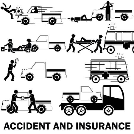 sickbed: Shape icons about pedestrian hit by pic up truck And call for emergency vehicles Claim receipt of insurance and the towing truck service.