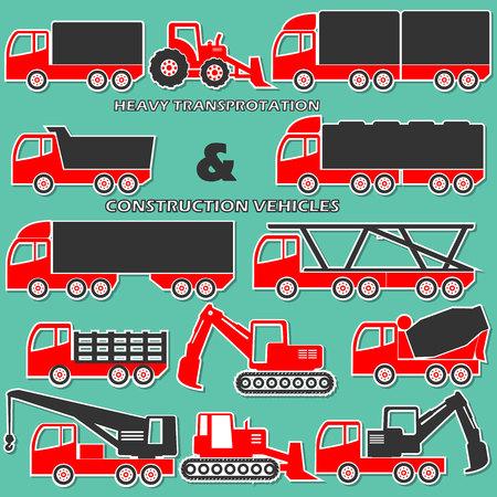 heavy construction: two tone shape heavy transportation and construction vehicle icons Illustration
