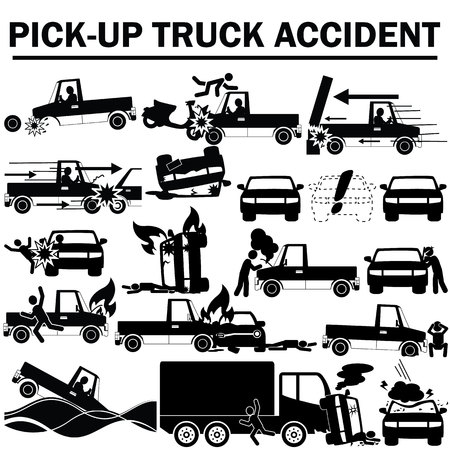swerving: silhouette icons of pickup truck accident and insurance sign Illustration