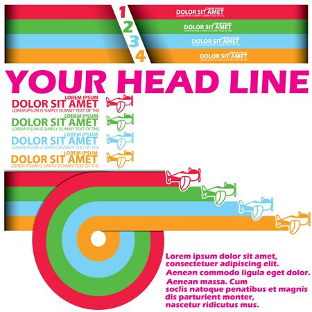 style advice: graphic of race air plane transportation and blank color stripe for your text or your advice in vector style