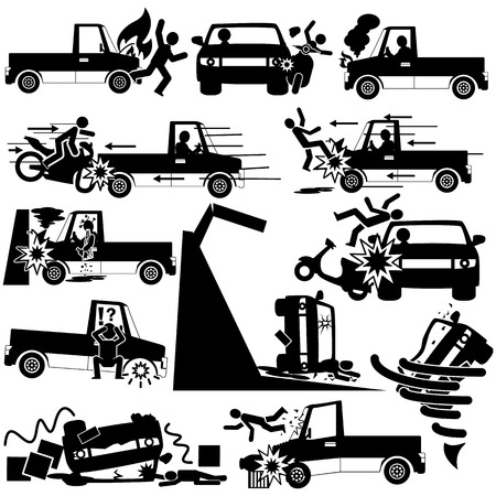 hailstorm: silhouette icons of pickup truck accident and insurance sign Illustration