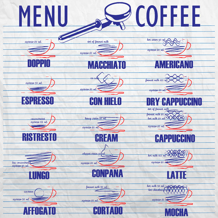 mixture: list the composition of the mixture of coffee hand-drawn on old paper.