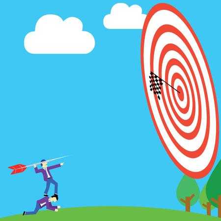 achievement clip art: businessman aiming arrow to target