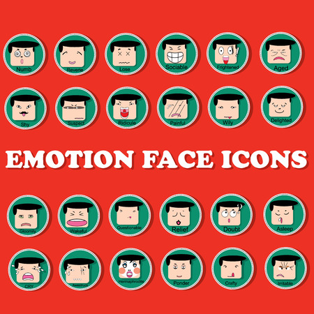 bordered: Group of mans face to show emotion in different ways in a circle bordered to the computer icon set Illustration