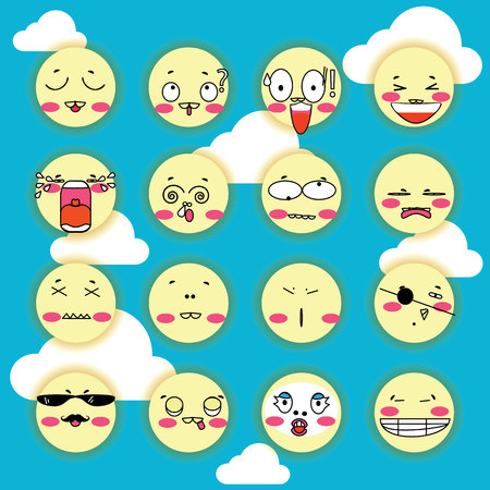confused guidance: expressions of moon Cartoon icons set
