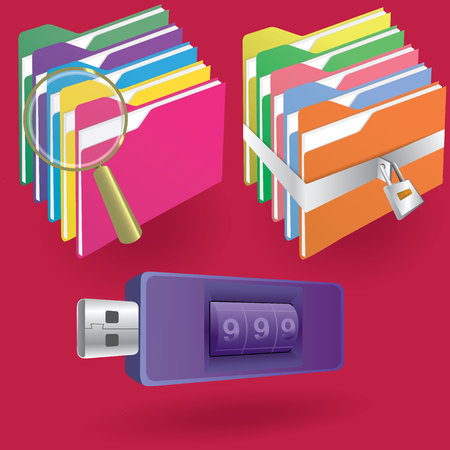 office: Document file and lock and thumb drive Illustration