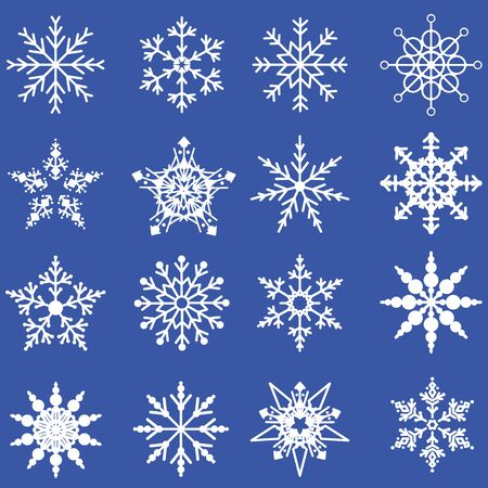 ice: white snowflake in blue background format Illustration