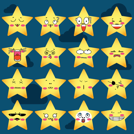 laughable: expressions of stars Cartoon icons set Illustration