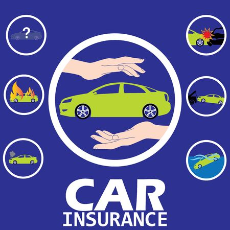gift accident: car insurance in circle vector style