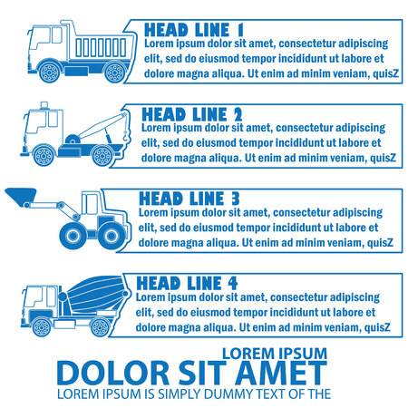 style advice: graphic of construction transportation and blank  stripe for your text or your advice in vector style.