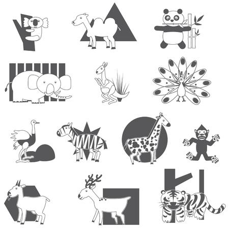 silueta tigre: Iconos del animal de la silueta en un fondo blanco. En el vector de estilo.