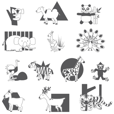 animal icon: Silhouette animal icons on a white background. In vector style.