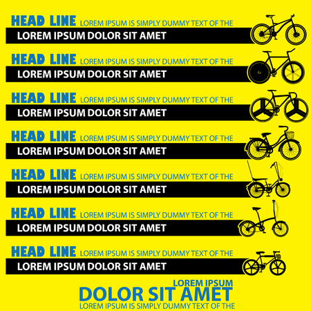 style advice: graphic of black bicycle and blank stripe for your text or your advice in vector style. Illustration