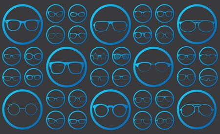 variety: glasses icons in circle vector style Illustration