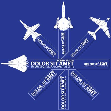 style advice: White icons and stripes of plane transportation flying cross line and blank color stripe for your text or your advice in vector style