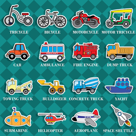 cartoon submarine: Cute vehicle types in sticker style on square graphic background. In vector format.