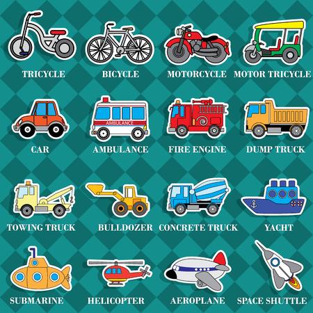 brandweer cartoon: Leuke voertuigtypen in sticker stijl op vierkante grafische achtergrond. In vector-formaat. Stock Illustratie