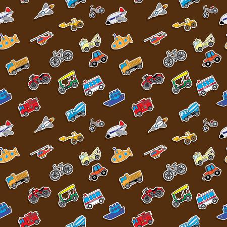 avion caricatura: Los iconos de color de transporte sin fisuras. Colocado en el fondo de color marr�n. En formato vectorial.
