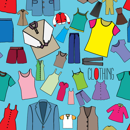 vestment: Color clothing icons seamless on blue background in vector style. Illustration