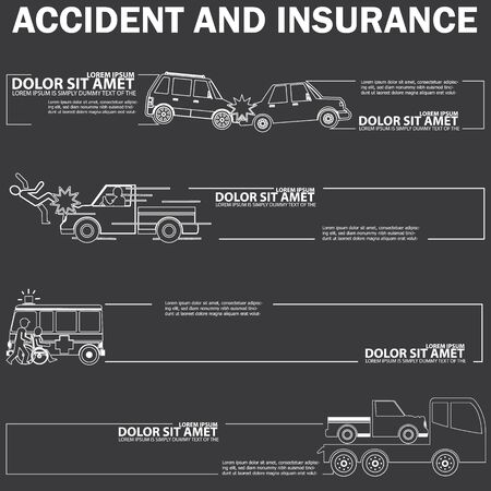 style advice: car crash drawing with white stripe  and blank stripe for your text or your advice in vector style Illustration