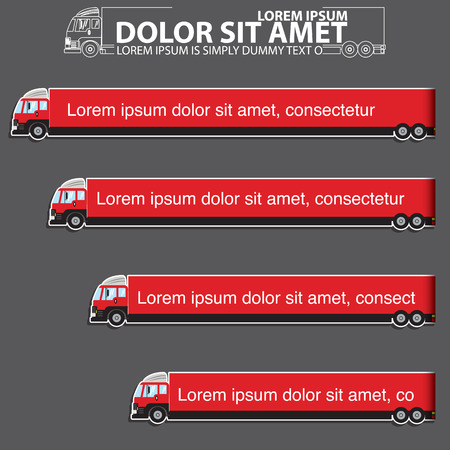 style advice: color icons and stripes of delivery truck and blank color stripe for your text or your advice in vector style