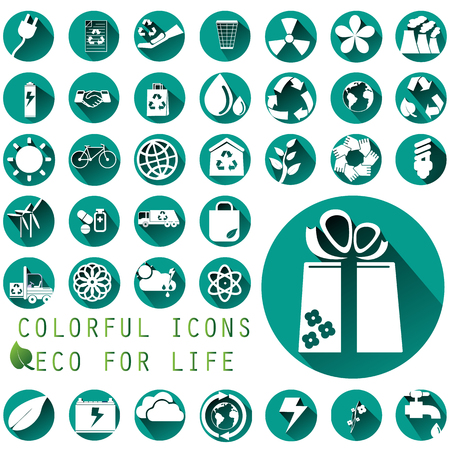 transport truck: Environmental icons in green circle illustration style