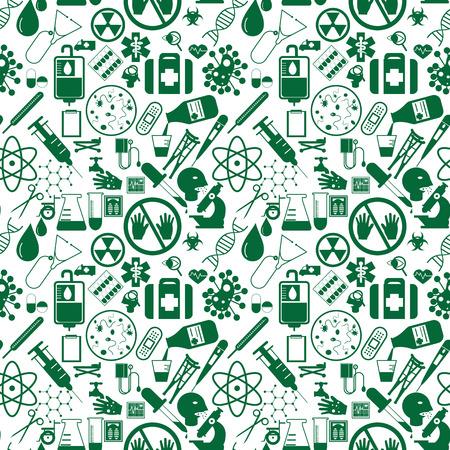 eye bandage: Green hospital icons seamless in vector style. Illustration