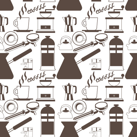 percolator: coffee maker icons on background seamless Vector style Illustration