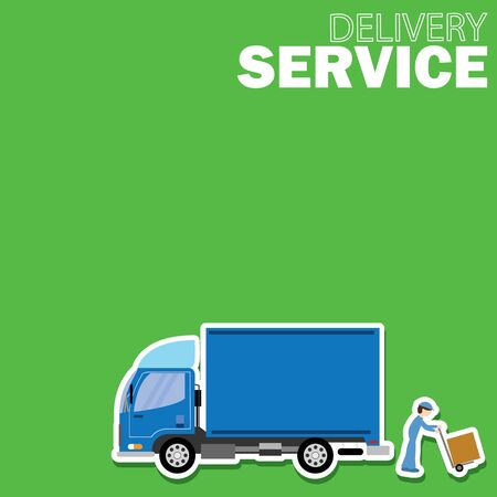 good cheer: Delivery truck service and Freighter on green board vector style