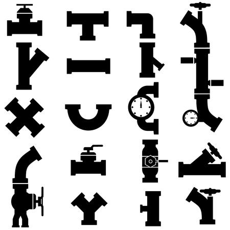 Conjunto de tubos de iconos de estilo vector