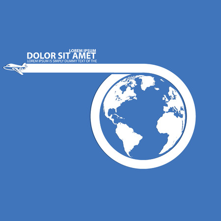 fly around: Around the world travelling by plane and blank stripe for add text in vector style