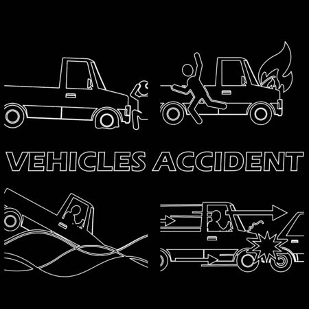 demolishing: Lines sign picture on road accidents. Vector style
