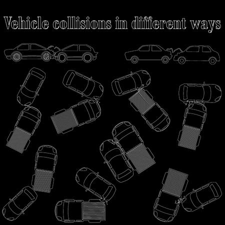 endanger: Hollow car crash sign.In vector format Illustration