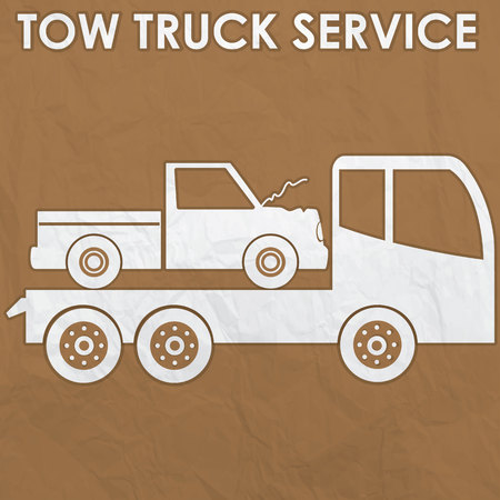 Tow truck service sign by old corrugate paper