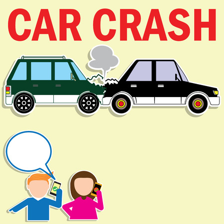 car road: Drivers calling insurance after car accident in vector style