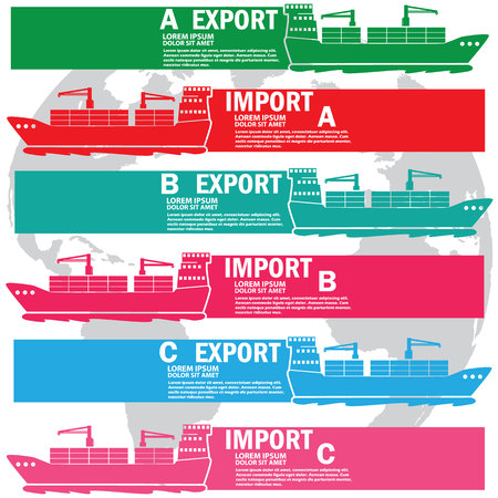 color theory: Color marine cargo ship bound for export and import goods, add text to complete. Vector style