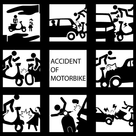 of computer graphics: Set of insurance on a motorcycle accident. Vector style.