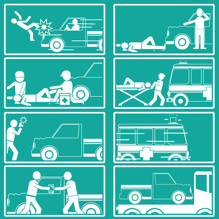 insurance claim: Silhouette Shape about pedestrian hit by pick up truck And call for emergency vehicles Claim receipt of insurance and the towing truck service. Illustration