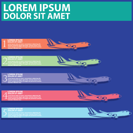 airliner: airliner and  color tab for add text of business information. Vector style