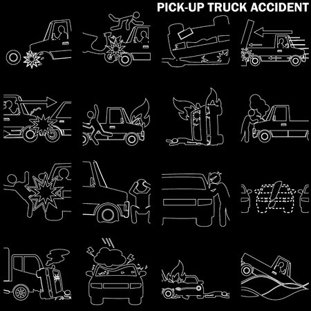 hailstone: line drawing of pickup truck accident and insurance sign. In vector style.